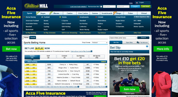 view the whole range of betting at William Hill