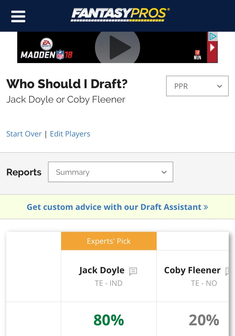 The Fantasy Football Trials: Jack Doyle v Coby Fleener